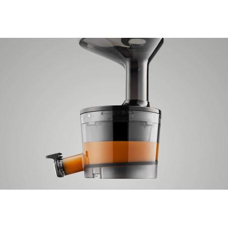 Extracteur de jus vertical Hurom H-100, un bol a jus incline pour plus de facilité