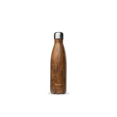 Bouteille thermos isotherme Qwetch inox bois - 500 ml