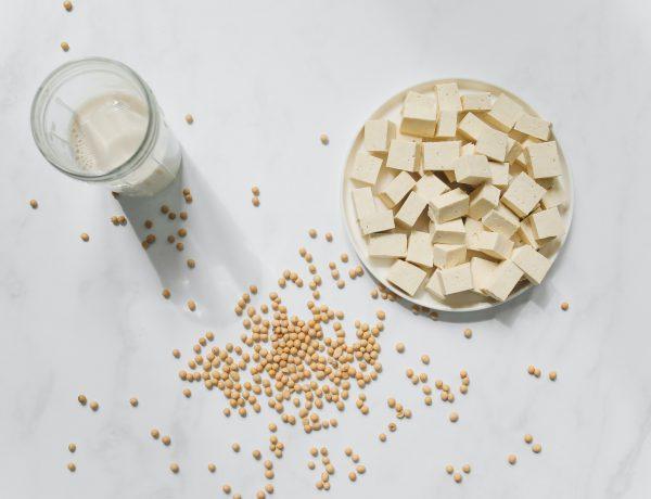 lait de soja avec bol de soja