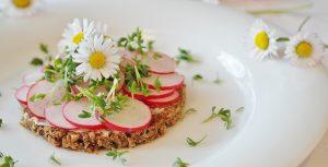 tartine de radis et fleurs